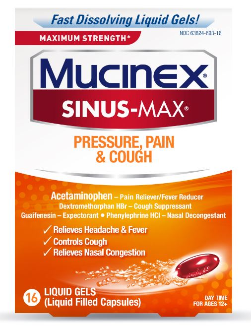 MUCINEX® SINUS-MAX® Pressure, Pain & Cough Liquid Gels