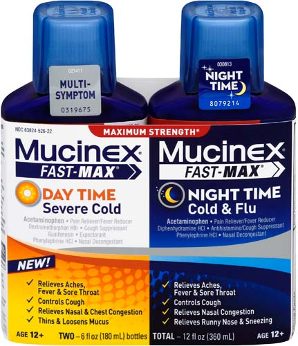 MUCINEX® FAST-MAX™ Day Time Severe Congestion & Cough PLUS Night Time Cold & Flu Liquid (Night Time)