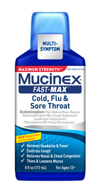 MUCINEX® FAST-MAX™ Cold, Flu & Sore Throat Liquid