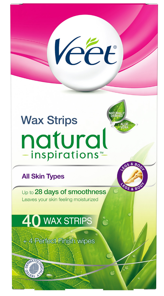 VEET® Natural Inspirations™ Wax Strips Kit - Legs & Body - Finish Wipes (Canada)
