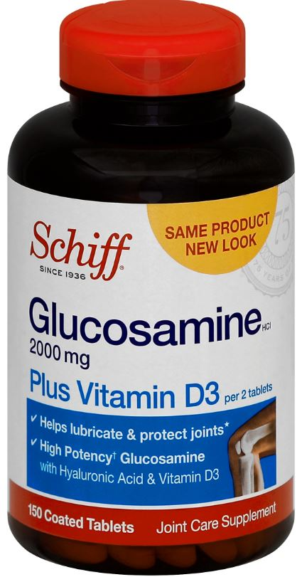 SCHIFF® Glucosamine Plus Vitamin D3 & Hyaluronic Acid - 1000 mg Tablets