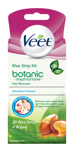 VEET® Botanic Inspirations™ Wax Strips Kit - Bikini, Underarm & Face - Wipes