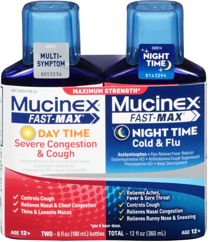 MUCINEX FASTMAX Day Time Night Time  Severe Congestion  Cough Liquid Day Time Photo