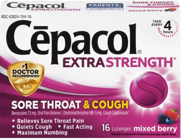 CEPACOL Extra Stength Sore Throat  Cough Lozenges  Mixed Berry Photo