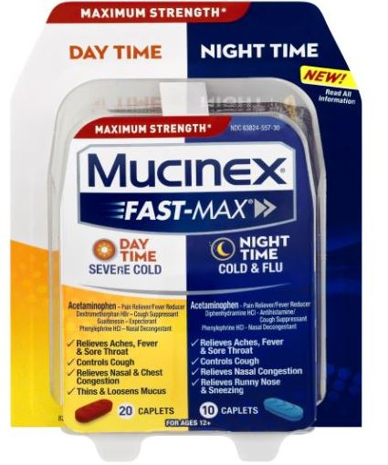 MUCINEX FASTMAX Day Time Night Time  Severe Cold Caplets Day Time Photo