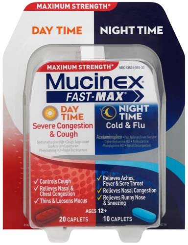 MUCINEX® FAST-MAX™ Day Time Severe Congestion & Cough PLUS Night Time Cold & Flu Caplets (Day Time)