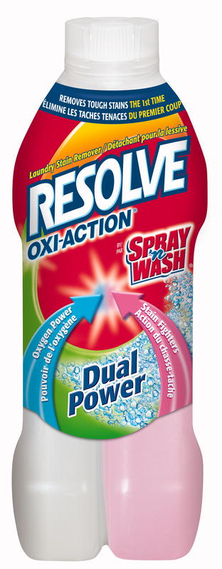 RESOLVE® OXI-ACTION™ DUAL POWER® Pre-Treat Laundry Stain Remover - Pink Side