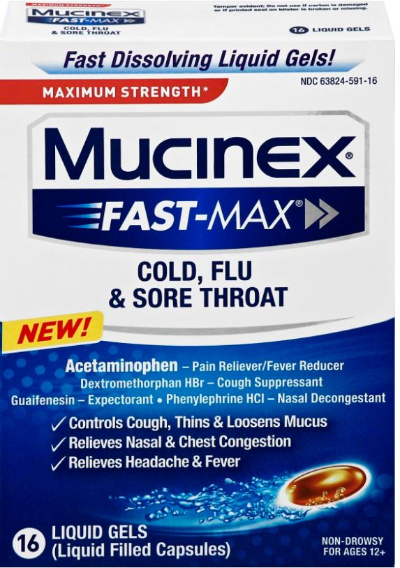 MUCINEX® FAST-MAX® Cold, Flu and Sore Throat Liquid Gels