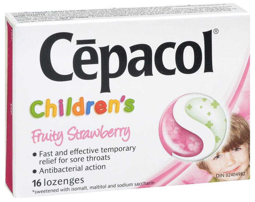CEPACOL Childrens Fruity Strawberry Lozenges Canada Photo