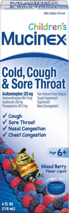 MUCINEX® CHILDREN'S Cold, Cough & Sore Throat Liquid - Mixed Berry