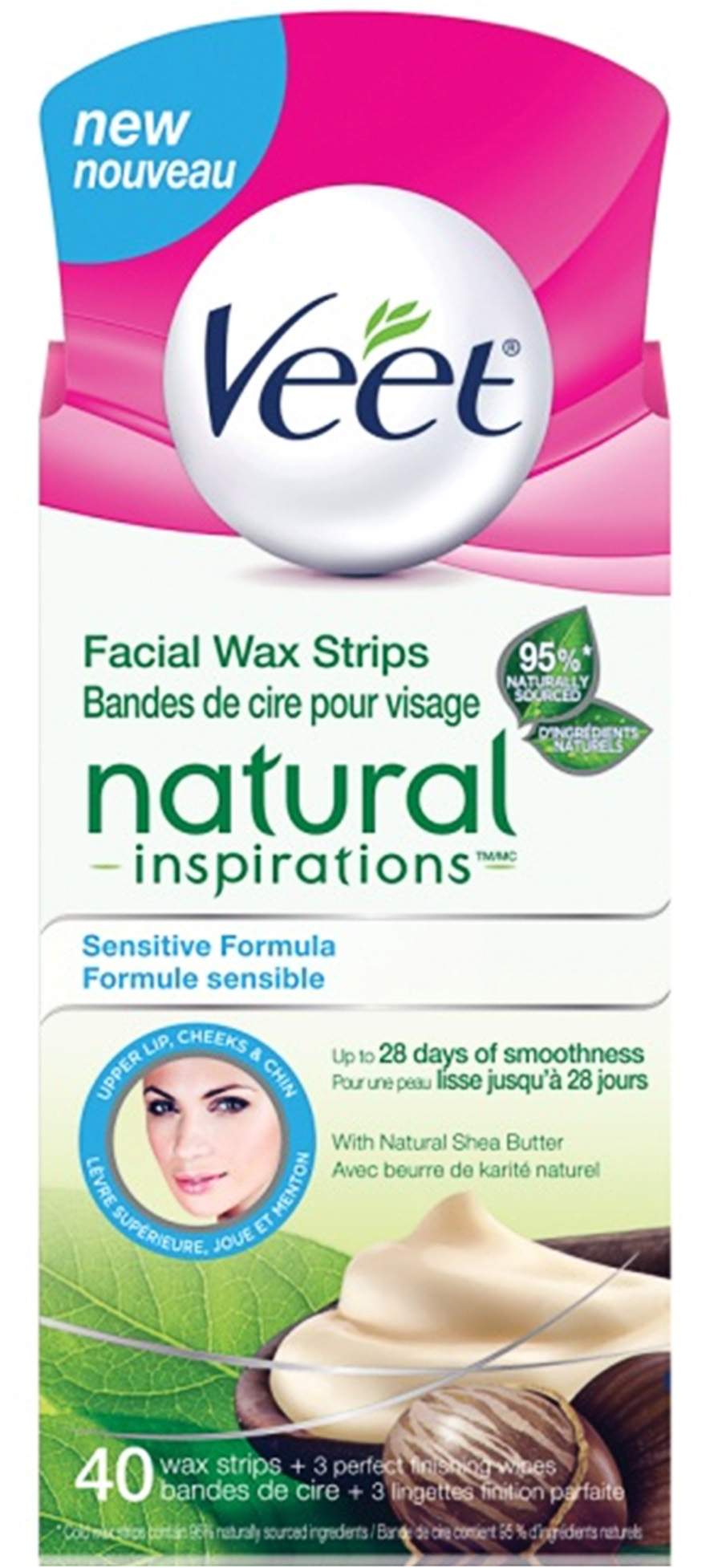 VEET® Natural Inspirations™ Facial Wax Strips - Sensitive Formula (Wipes)