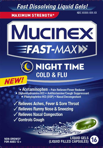 MUCINEX® FAST-MAX™ Night Time Cold and Flu Liquid Gels