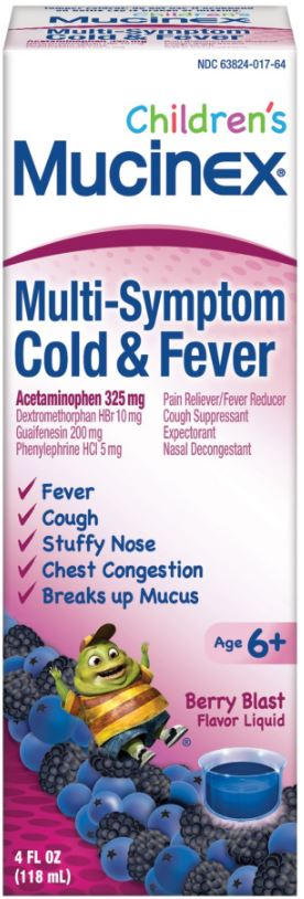 MUCINEX® CHILDREN'S Multi-Symptom Cold & Fever - Berry Blast