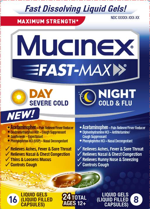 MUCINEX FASTMAX Day Night  Cold  Flu Liquid Gels Night Photo