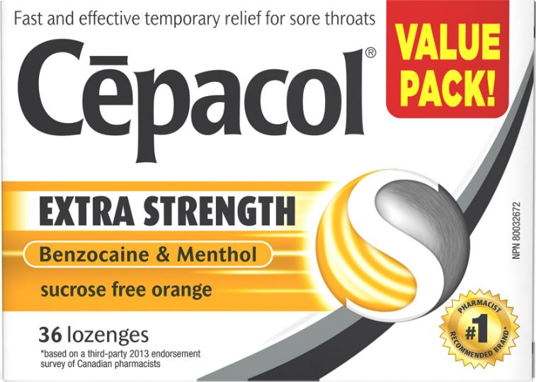 CEPACOL Extra Strength Sucrose Free Orange Lozenges Canada Photo