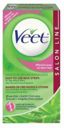 VEET® Easy to Use Wax Strips for Legs, Body & Bikini - Normal to Dry Skin (Product A)