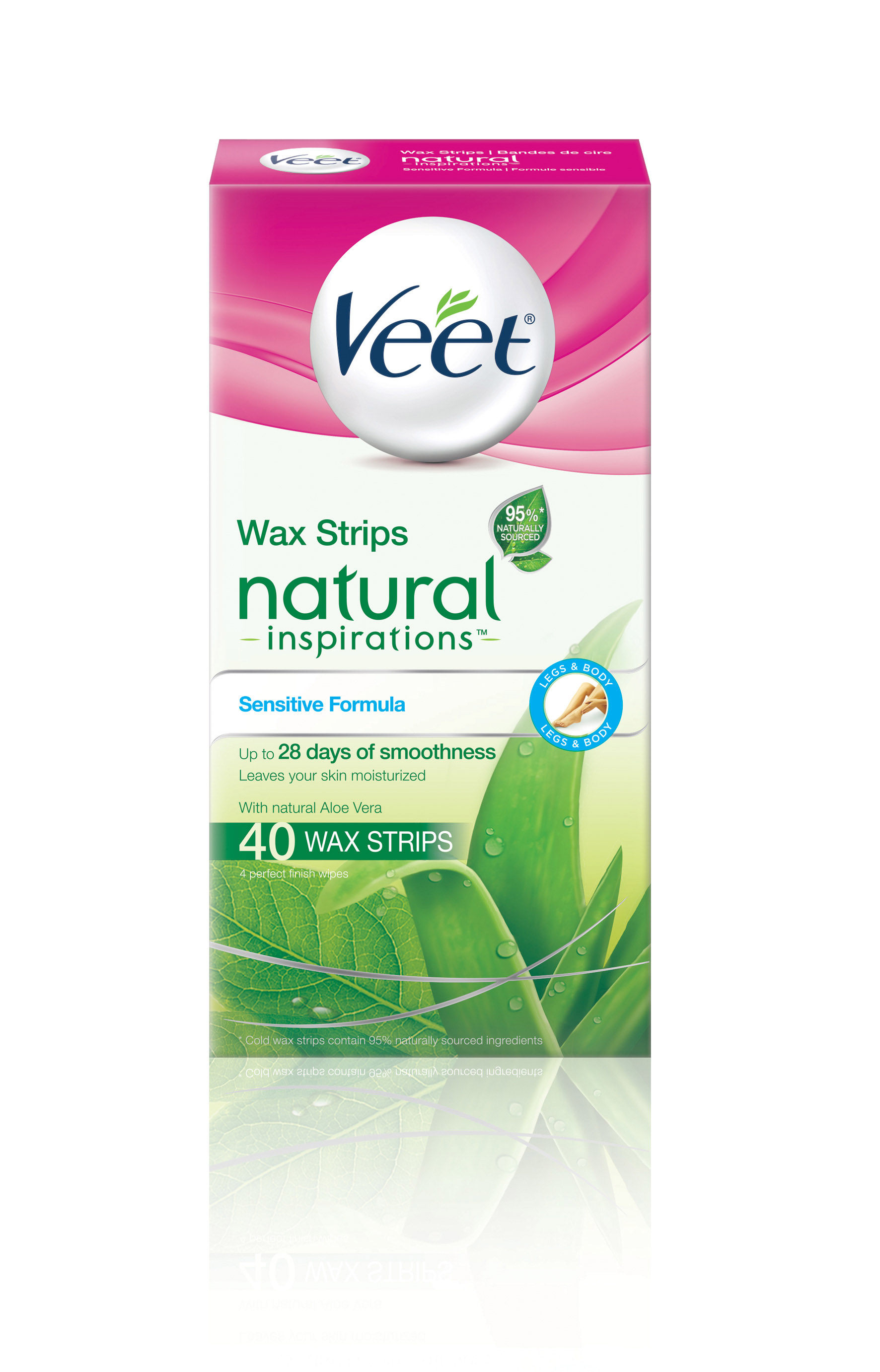 VEET® Natural Inspirations™ Wax Strips - Sensitive Formula with Aloe Vera (Wipes)