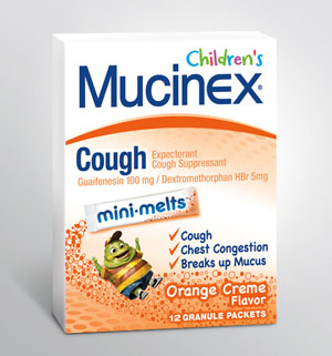MUCINEX® CHILDREN'S Cough Mini-Melts - Orange Cream - (100 mg Guaifenesin, 5.0 mg Dextromethorphan)