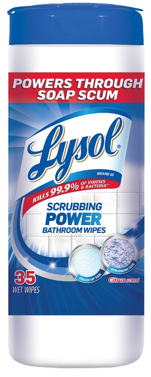 LYSOL® Scrubbing Power Bathroom Wipes - Citrus Scent