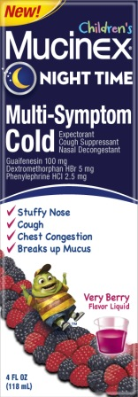 MUCINEX® CHILDREN'S Night Time Multi-Symptom Cold Liquid - Mixed Berry