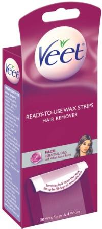 VEET® Ready-To-Use Wax Strips Hair Remover Face with Essential Oils Wax Strips