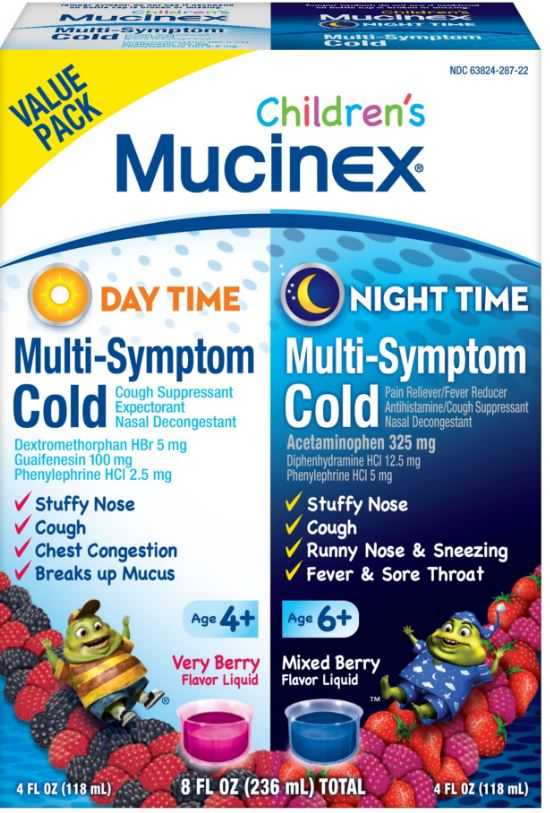 MUCINEX CHILDRENS Day Time Night Time  MultiSymptom Cold  Mixed Berry Night Time Photo