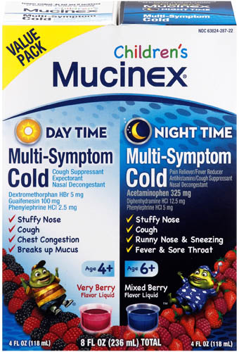 MUCINEX® CHILDREN's Multi Symptom Cold Liquid - Day Night (Night Time)