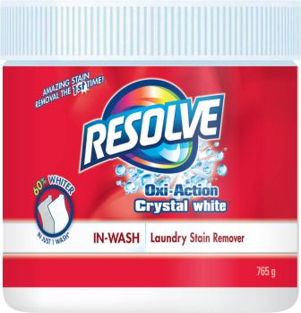 RESOLVE® OXI-ACTION™ Crystal White In-Wash Laundry Stain Remover - Powder