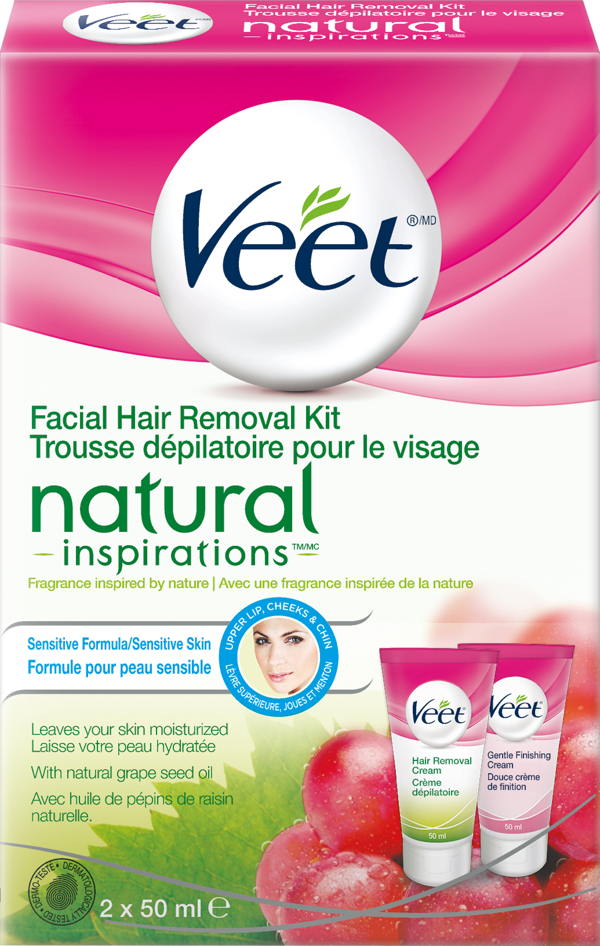 VEET® Natural Inspirations™ Facial Hair Removal Kit - Sensitive Skin Step 2 Cream (Canada)