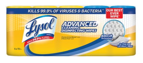LYSOL Advanced Cleaning Disinfecting Wipes  Lemon