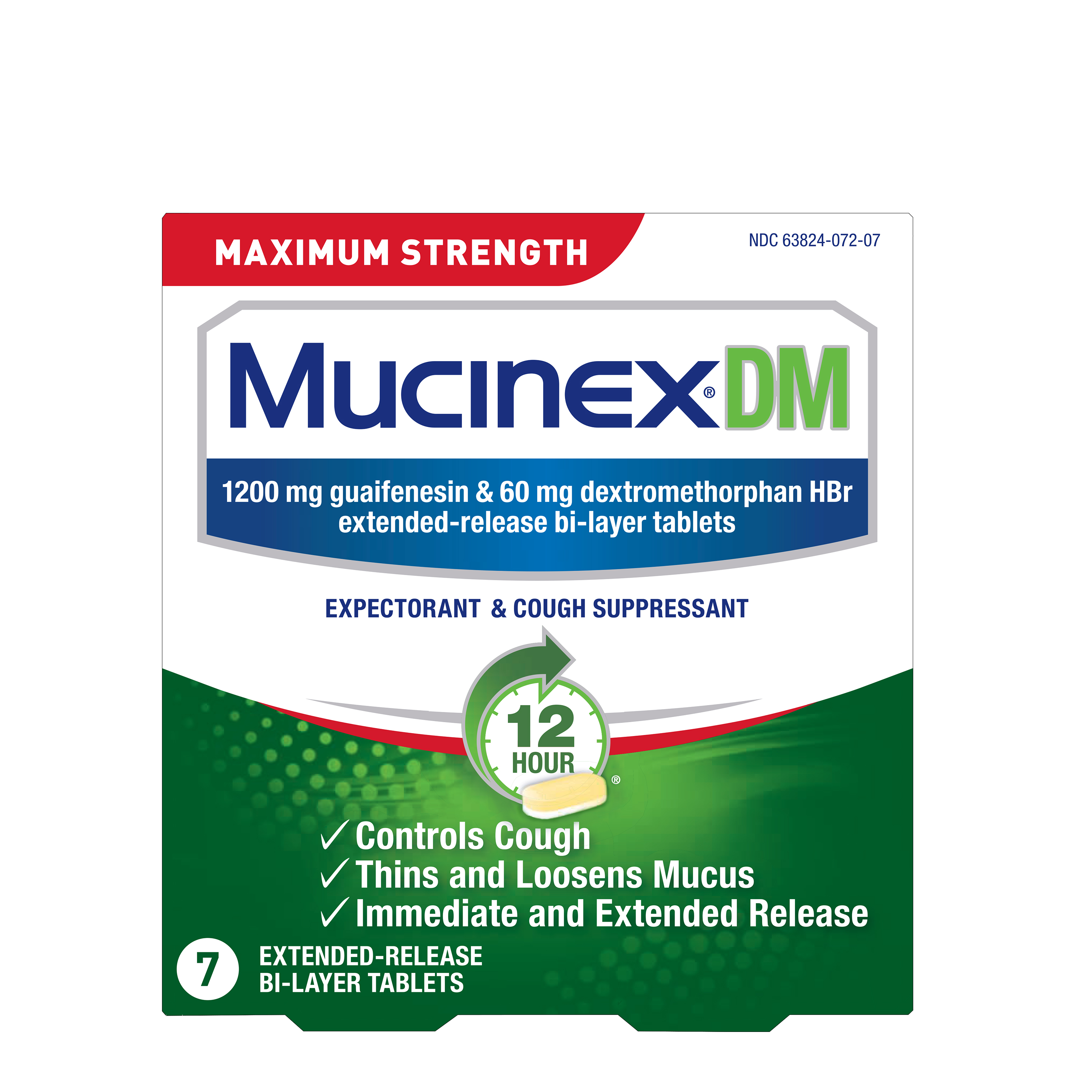 MUCINEX® 12 Hour DM - 1200 mg Guaifenesin, 60 mg Dextromethorphan HBr