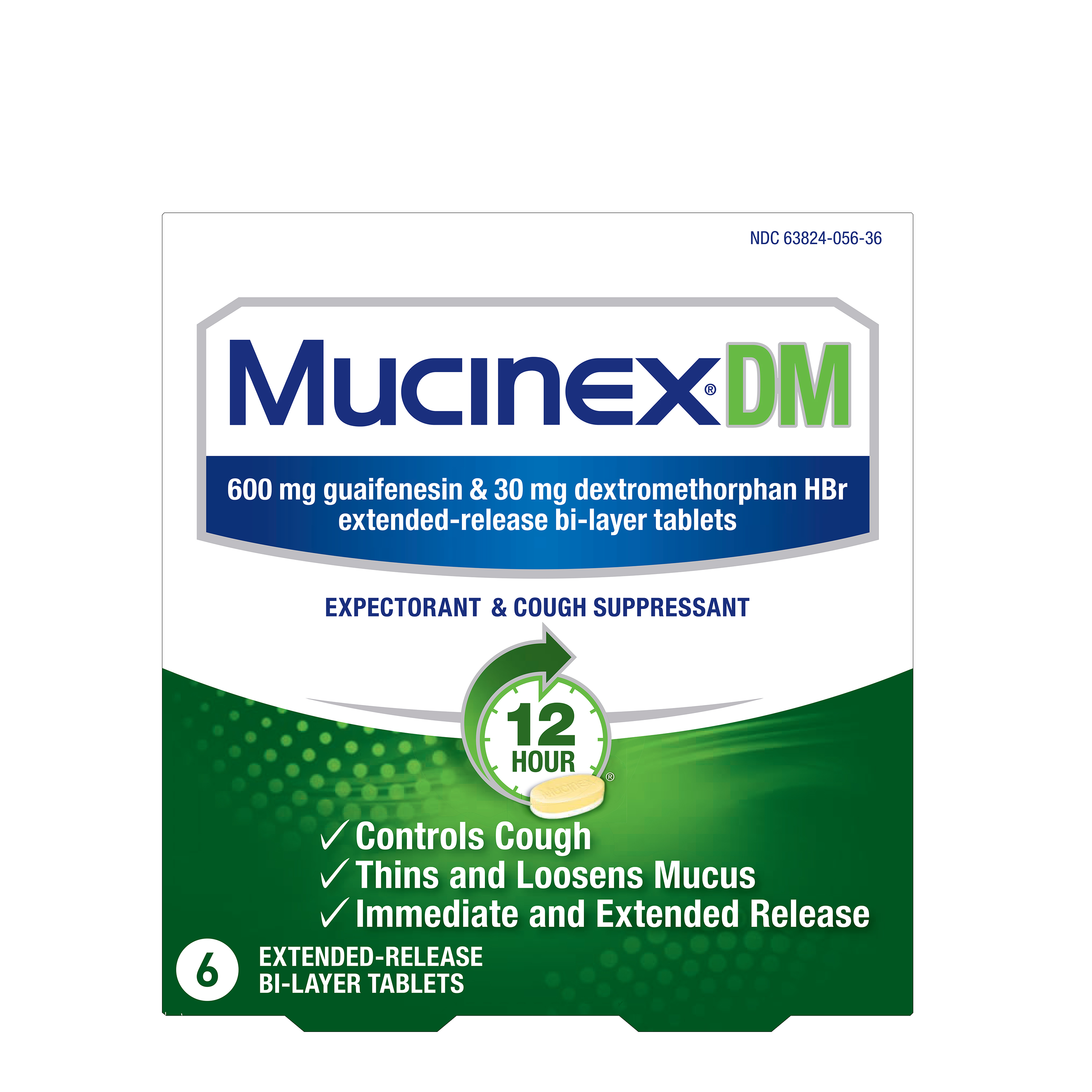 MUCINEX® 12 Hour DM - 600 mg Guaifenesin, 30 mg Dextromethorphan HBr