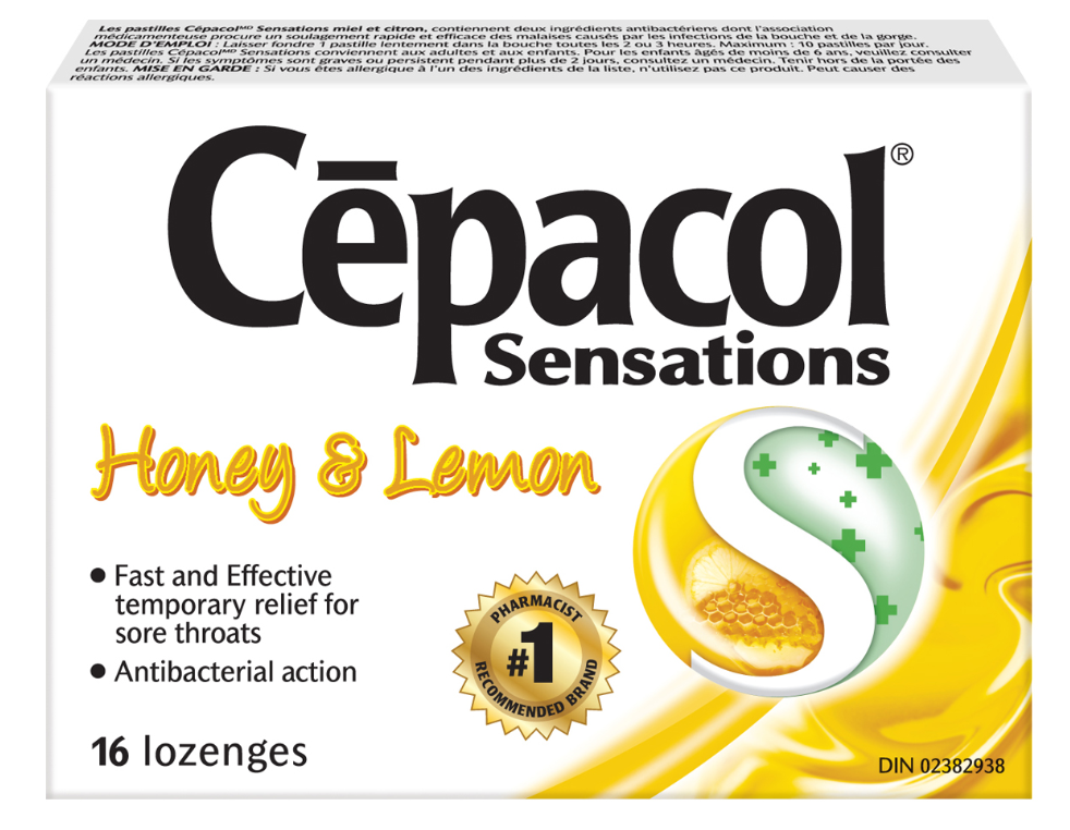 CEPACOL® Sensations Honey & Lemon Lozenges (Canada)